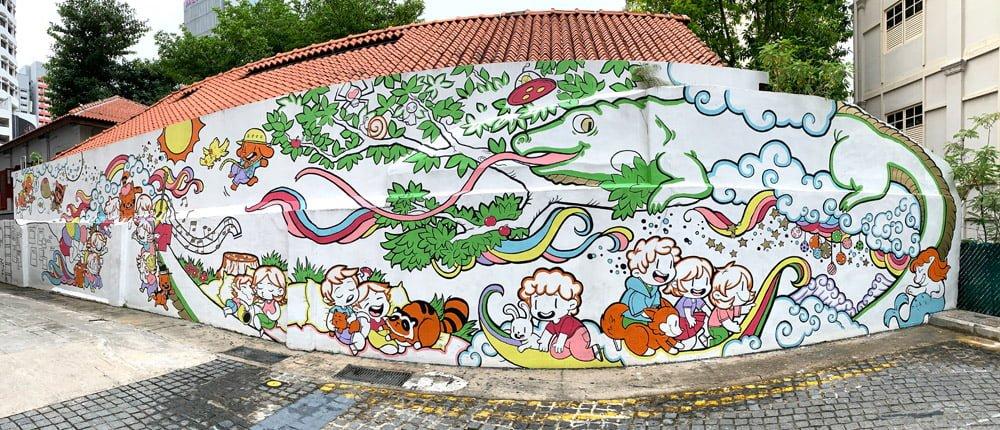 Singapore Street Art - NAFA wall 2019 Pano