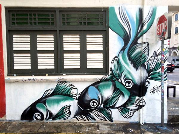 Singapore Street Art - Substation Styna Goldfish