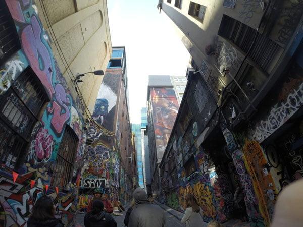 Melbourne Street Art Looking Up