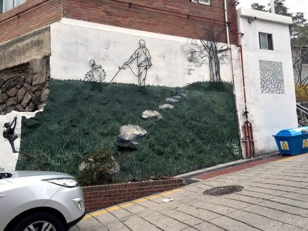 Seoul Ihwa Mural Village Grass Naksan-Gil