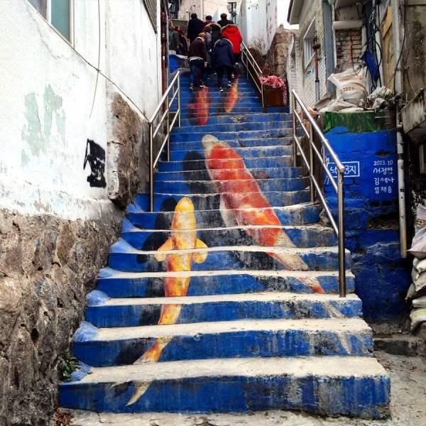 Seoul Ihwa Mural Village Koi Stairs