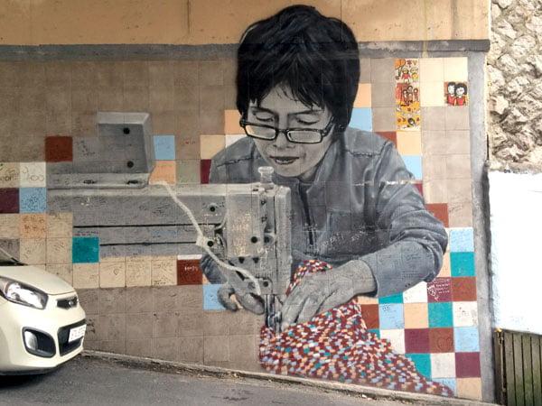 Seoul Ihwa Mural Village Sewing Machine