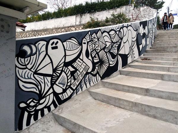 Seoul Ihwa Mural Village Stairs BnW