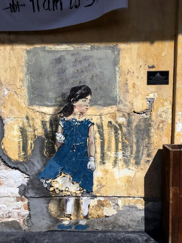 Penang Street Art - Hin Bus Depot Ernest Zacharevic Blue Girl