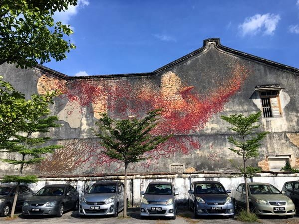 Where to find street art in Penang outside George Town Core