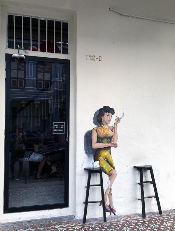 Penang Street Art - Jalan Nagore Retro Smoking Lady