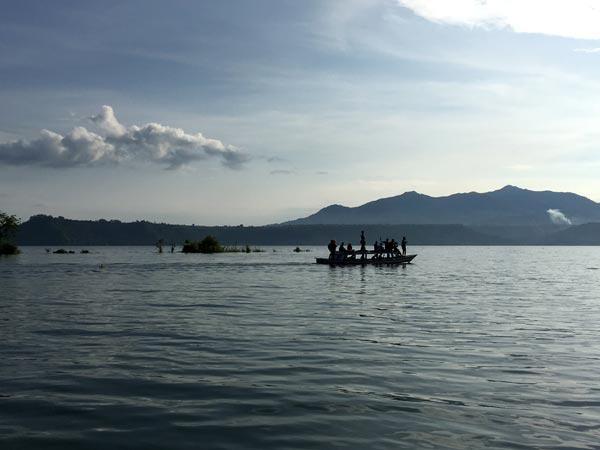 South Sumatra Ranau Lake Boat Silhouette