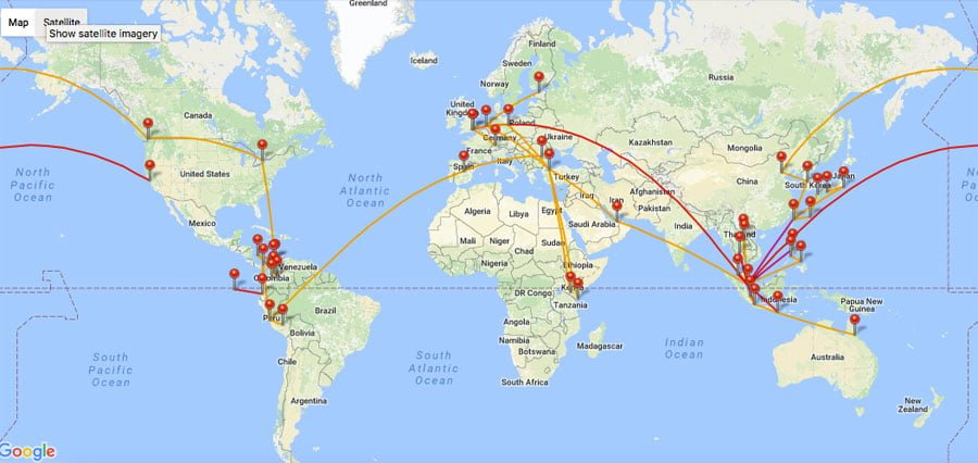 Career Break 2016-2017 Flight Map