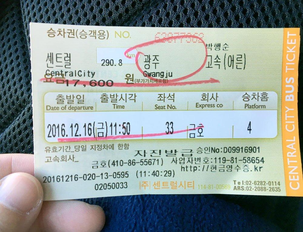 Gwangju Bus Ticket