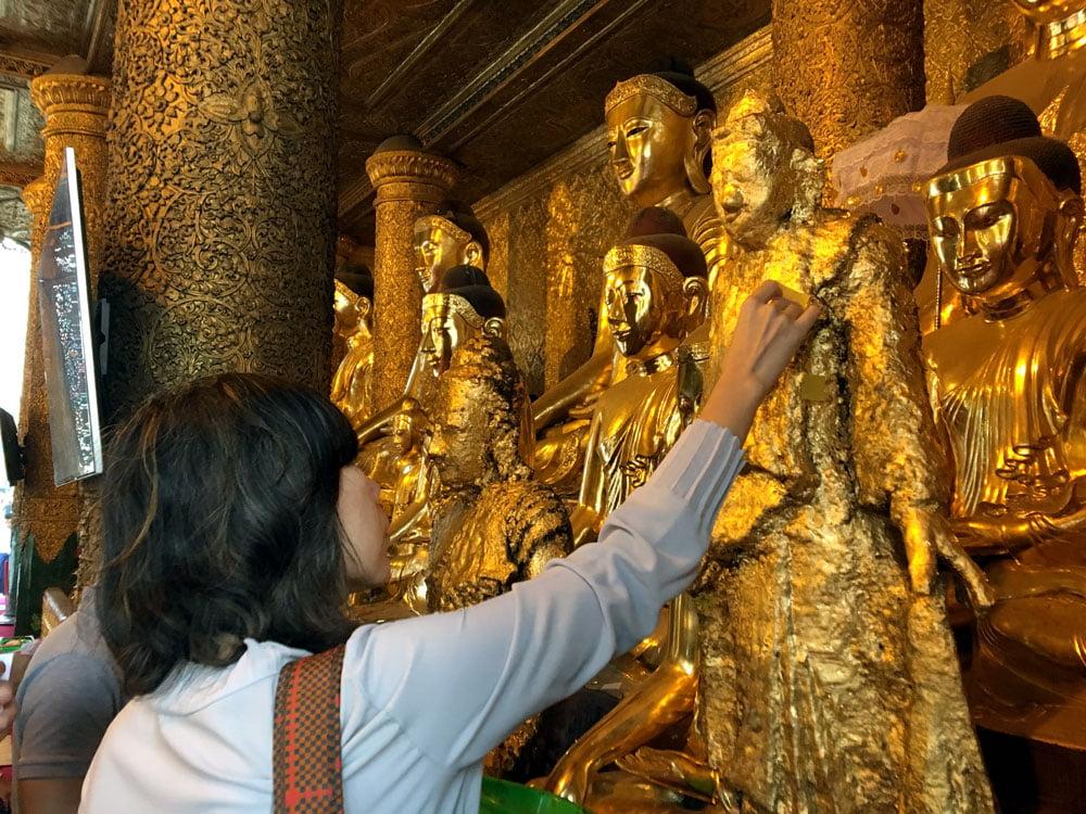 Yangon Shwedagon Pagoda Gold Leaf Statue