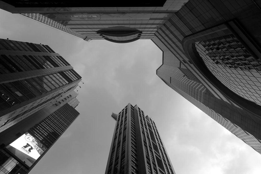 Hong Kong Times Square Looking Up BnW