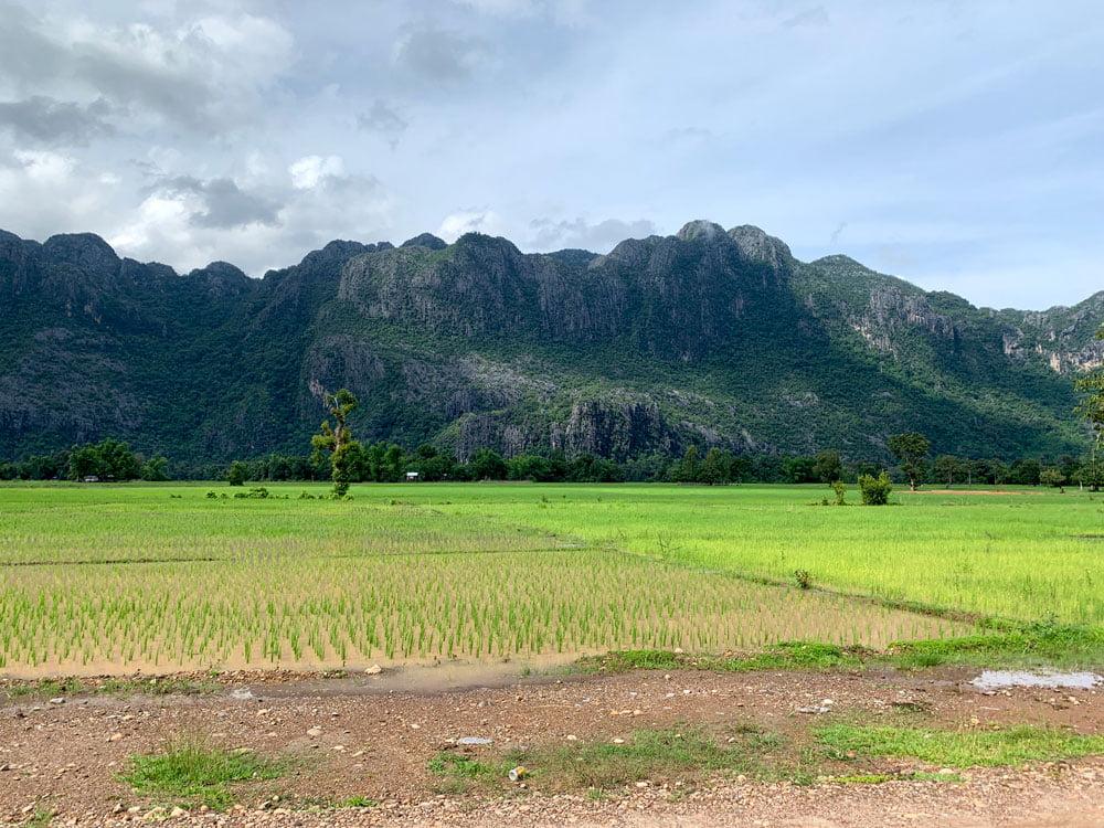 Laos Kong Lor Village Fields