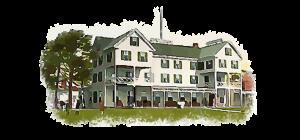 ocean house hotel watercolor painting