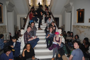 Students at the Woodbridge Hall sit-in