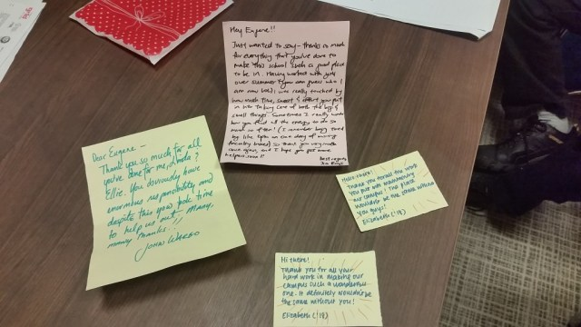 Appreciation notes the team has collected from various students and faculty.
