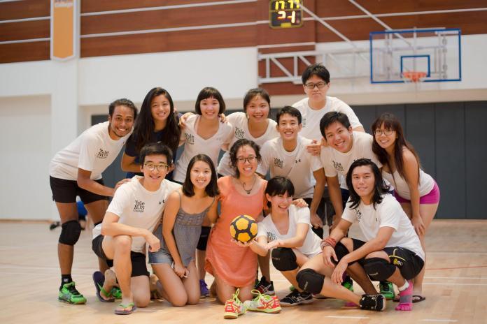The tchoukball team celebrates a successful tournament. (Aleithia Low)