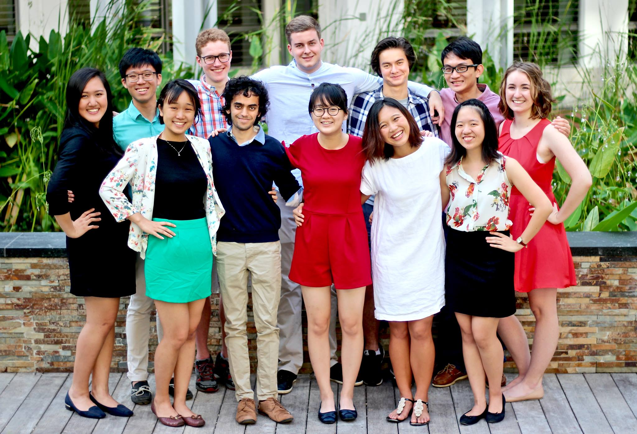 Yale-NUS's Second Student Government pose in the courtyard.