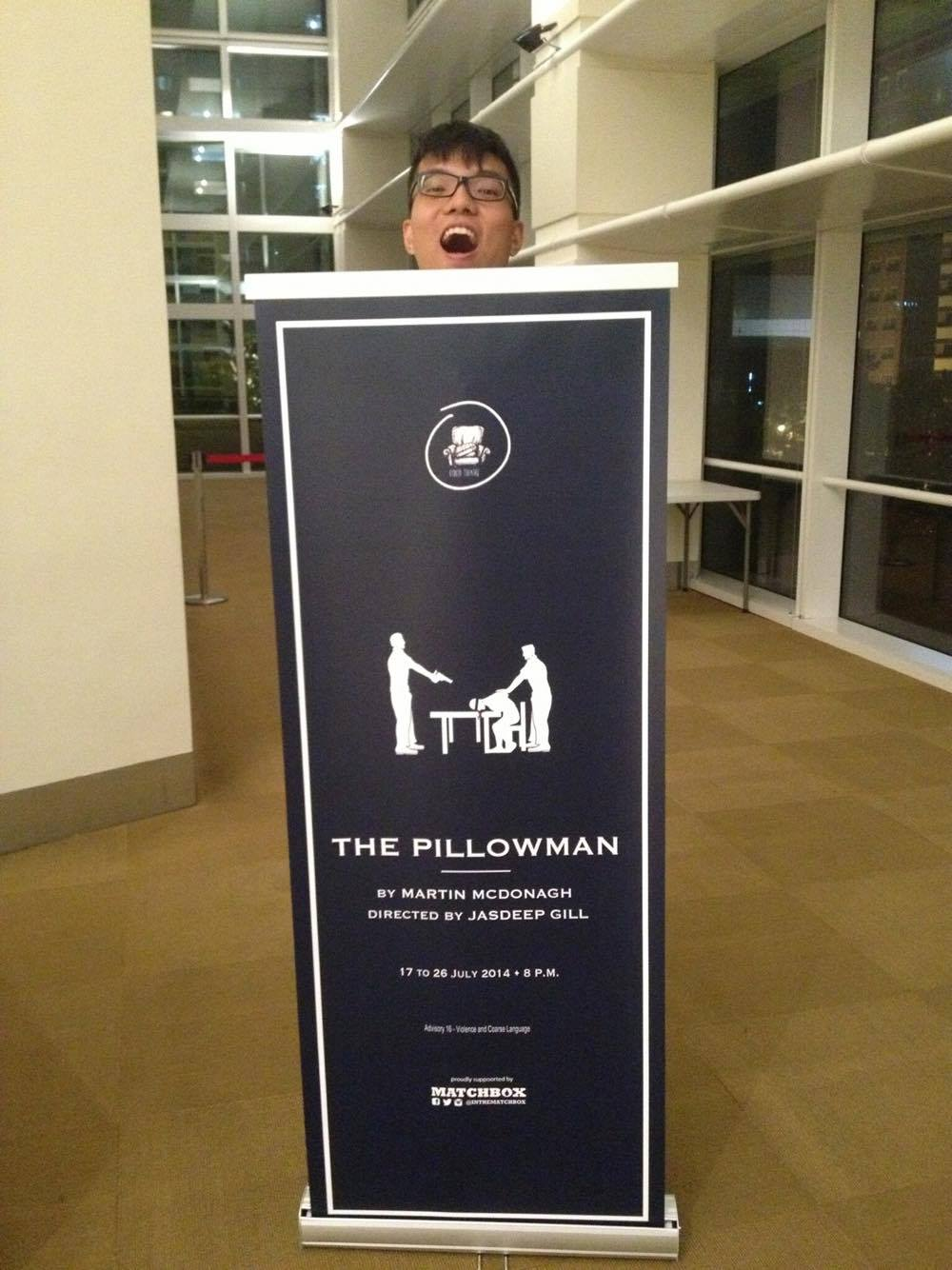 Jia Rong '18 posing with his favourite production thus far- The Pillowman.