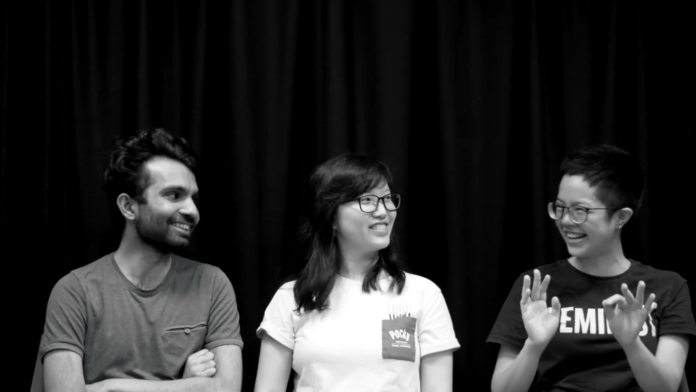 Three people smiling in a Yale-NUS screentest frame.