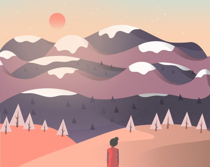 Illustration of a girl looking at mountains