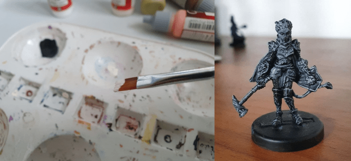 On the left, a picture of a paintbrush that has been dipped in white paint. On the right, a miniature with a fine layer of white paint.