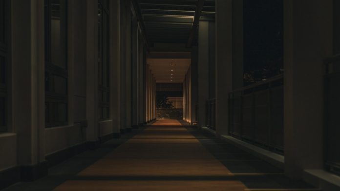 A shot of the corridor outside library at night