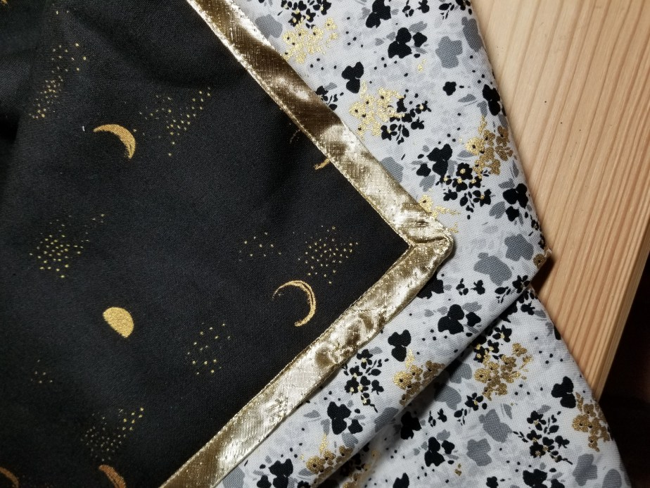 table runner with moon phase fabric