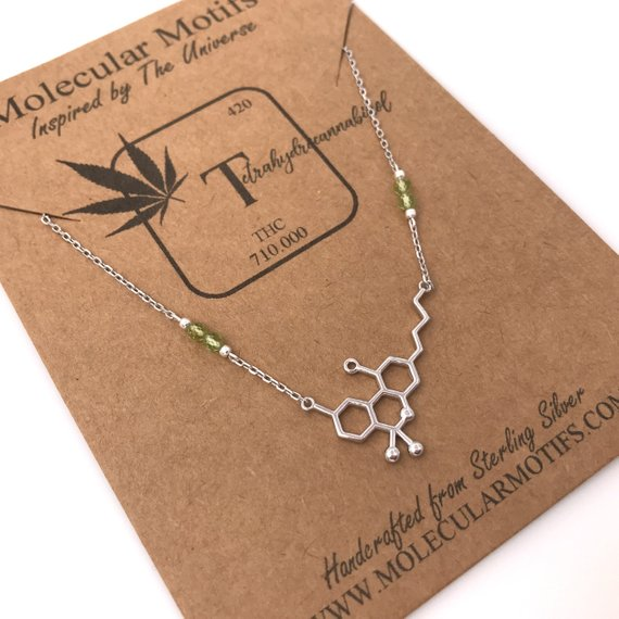 cannibis molecule necklace