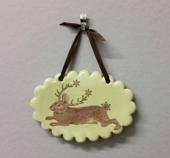 catclayshop jackalope ornament
