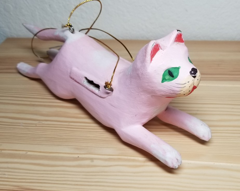 pink wooden cat
