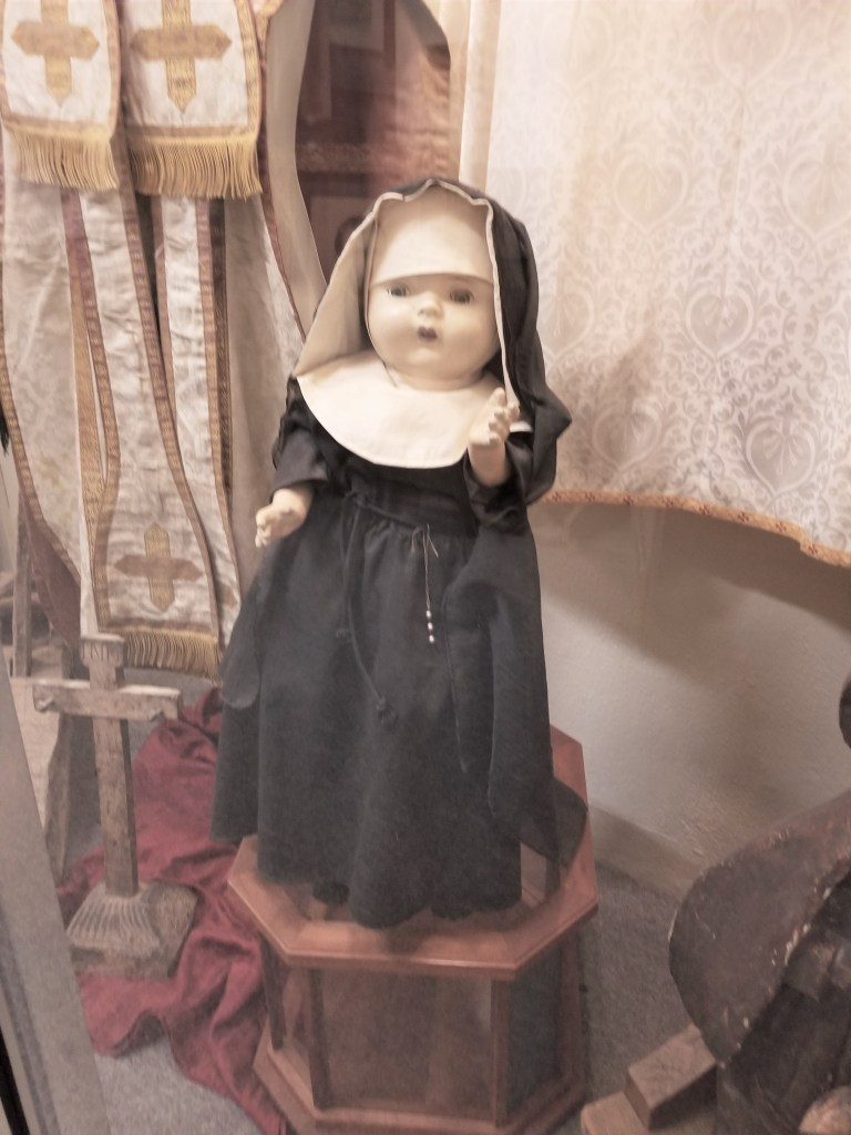 nun doll at geronimo springs museum, truth or consequences