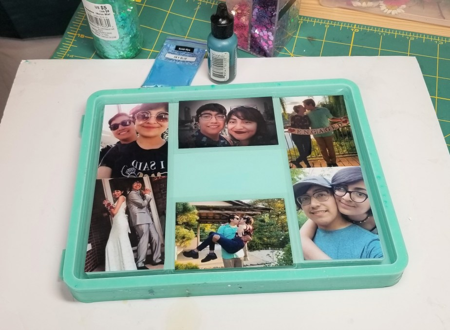 layout for resin collage tray