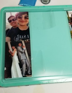 resin collage tray how to keep photos straight