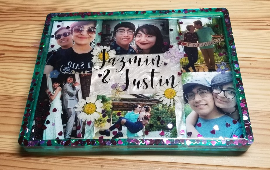 how to make a resin photo collage tray