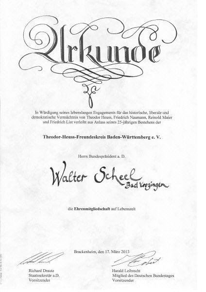 Siegfried Schilling 100 Mitglied  Walter Scheel Ehrenmitglied im TheodorHeussFreundeskreis