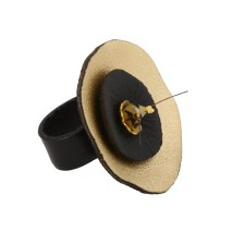 Jt Ασημένιο δαχτυλίδι με χρυσαφή δερμάτινο κύκλο και Swarovski
