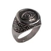 Jt Ατσάλινο ανδρικό δαχτυλίδι σφραγίδα μάτι