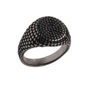 Jt Ατσάλινο ανδρικό δαχτυλίδι σφραγίδα δέρμα φιδιού