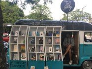 Bookmobile parked outside our visit to the US Embassy, Lisbon.