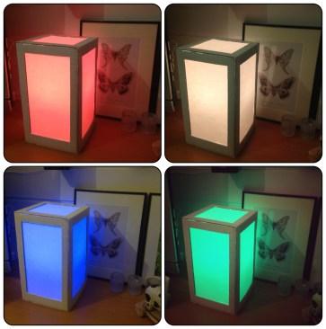 Lampen er ferdig! Lyspæren jeg plasserte inni styres med en fjernkontroll. Den kan skifte farge og har masse forskjellige innstillinger.