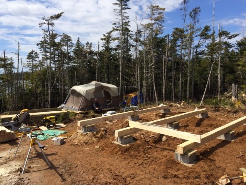 Completed the Off Grid Cabin Foundation Footings and Beams