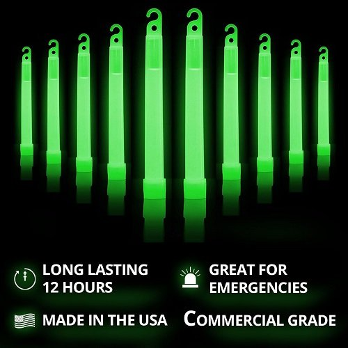 "Cyalume Green Glow Sticks - Premium Bright 6"" SnapLight Sticks with 12 Hour Duration (10 Pack)"