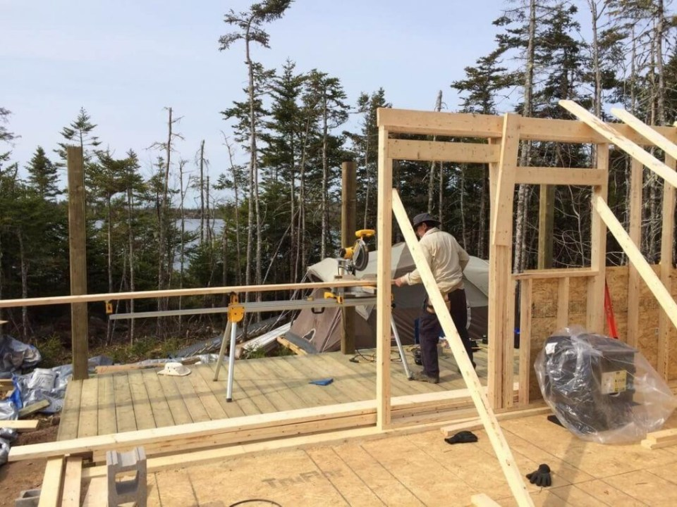 Framing The Cabin Half Front Wall 2