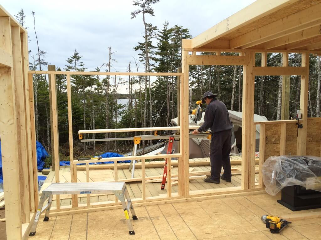 Framing The Off Grid Cabin front wall