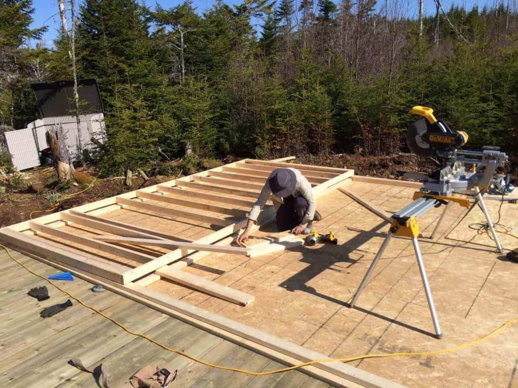 Framing-the-Off-grid-Cabin-First-Wall-2