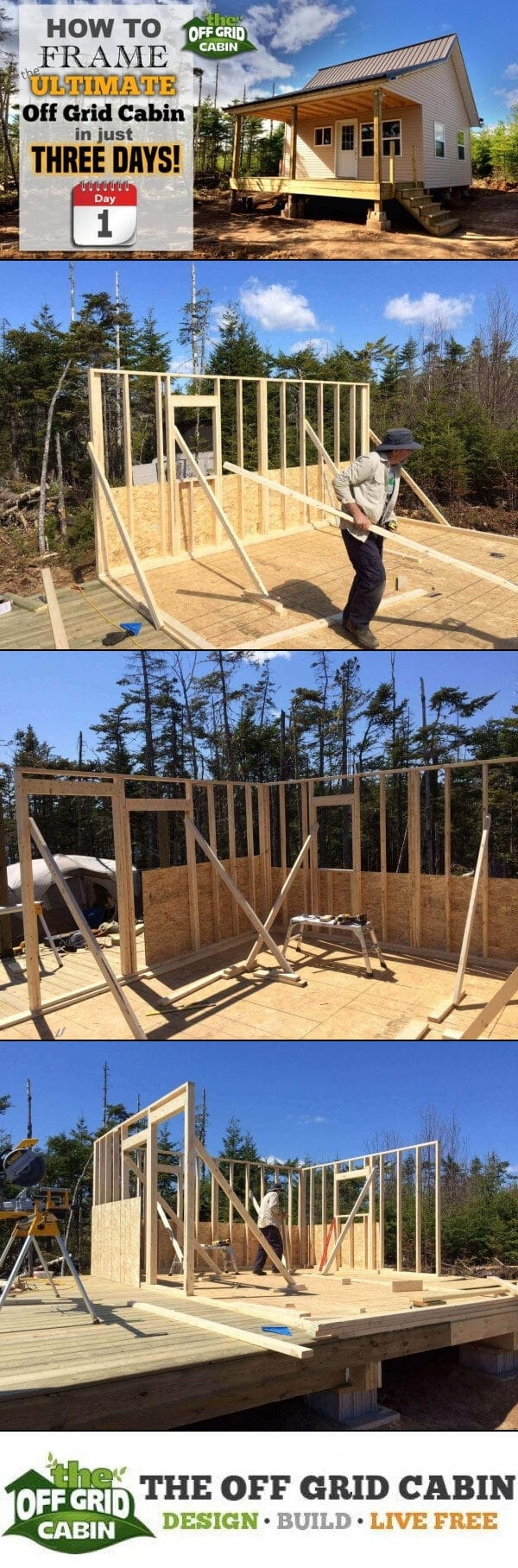 Framing the off grid cabin in 3 days day 1