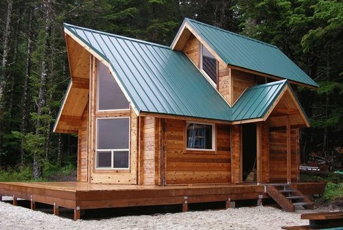 Green Cabin Metal Roof
