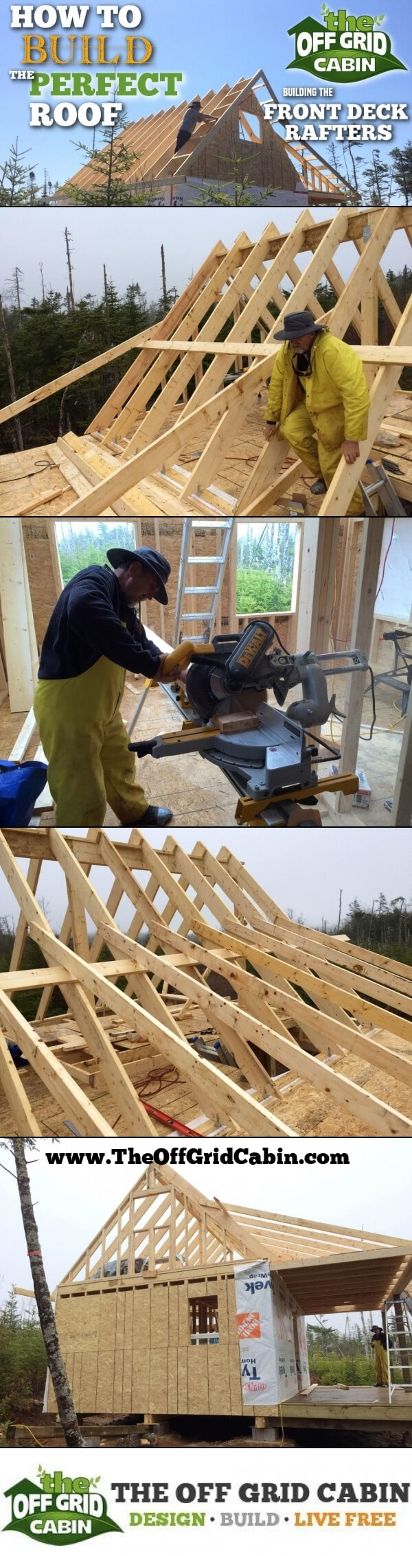 The Off Grid Cabin How To Build The Perfect Roof Deck Rafters Pinterest Image