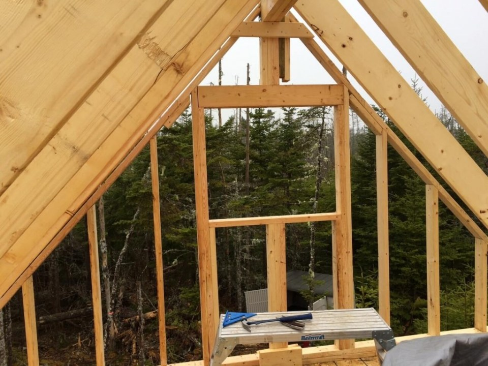 The Off Grid Cabin Loft Window Framed