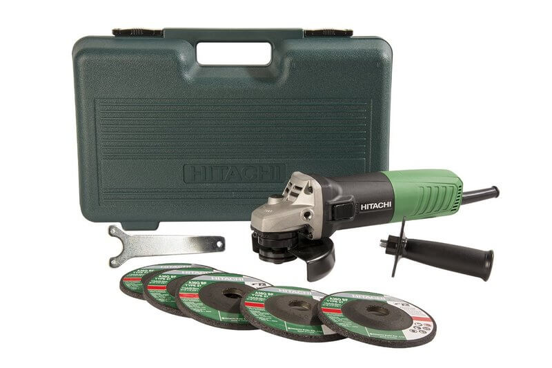 Hitachi 6.2-Amp 4-1.5 Inch Angle Grinder with 5 Abrasive Wheels